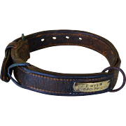 "Antique Leather Dog Collar ~ ""J. E. Wyer, Droitwich"""