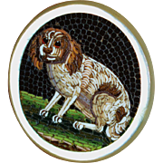 Georgian Micromosaic Spaniel ~ Micro Mosaic Dog Plaque