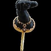 Antique Whippet Greyhound Dog Stick Pin