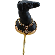 Antique Whippet Greyhound Dog Stick Pin