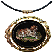 Antique Micro Mosaic Dog Pendant With Leather Cord ~ Cavalier King Charles Spaniel
