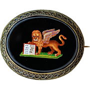 Antique Micro Mosaic Brooch ~ St Mark's Winged Lion
