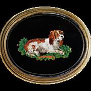 Antique Micro Mosaic Dog Brooch ~ Cavalier King Charles Spaniel