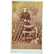 Antique CDV Photograph ~ English Lady And Her Beloved Dogs