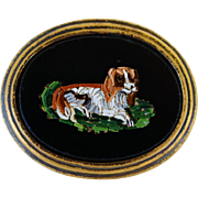 Antique Micro Mosaic Dog Plaque In Ormolu Stand ~ Cavalier King Charles Spaniel