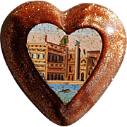 Antique Micro Mosaic Heart Plaque