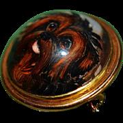 Antique Reverse Crystal Dog Brooch ~ Sweet Brown Terrier