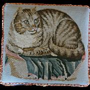 Antique 19C Needlework Stool ~ Recumbent Cat