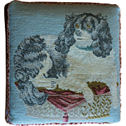 Antique 19C Dog Needlework Stool ~ Cavalier King Charles Spaniel