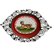 Antique Micro Mosaic Brooch Depicting a Recumbent Pug