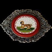 Antique Micro Mosaic Brooch Depicting a Recumbent Pug