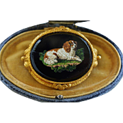 Antique Micro Mosaic Brooch ~  Cavalier King Charles Spaniel Dog