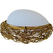 Antique French Palais Royal Opaline Egg In Nest Casket