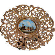 Antique Grand Tour Souvenir Card or Cake Tray ~ Parliament Eglomise Painting