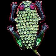Delightful Vintage Hollycraft Frog Brooch