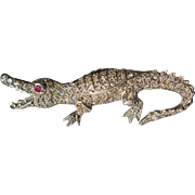 Antique Rose Cut Diamond and Ruby Alligator Brooch