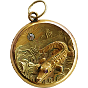 Victorian Gold Filled Locket ~ Alligator With Palm Trees