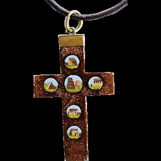 Antique 19C Grand Tour Micro Mosaic Micromosaic Cross