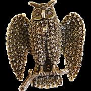 C1856 Victorian Sterling Silver Owl Brooch