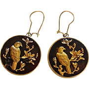 Antique Meiji Era Japanese Shakudo Eagle Earrings