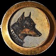 Antique Locket Brooch ~ Miniature Dog Portrait Painting ~ Manchester Terrier