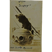 "WW1 Dog Mascot ""Scotty"" RPPC Postcard"