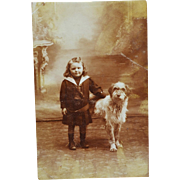 Antique French RPPC Postcard ~ Girl With Her Dog