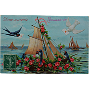 Antique French Embossed Postcard ~ Swallows with Roses