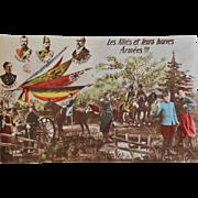 """WW1 French Postcard ~ """"Les Alliés et leurs braves Armées""""  Albert 1st,  Zar Nikolas II., Georges V., and R. Poincare"""