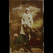 WW1 French Postcard ~ Red Cross Dog C1905