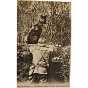 French WW1 Postcard ~ Soldier With War Dog