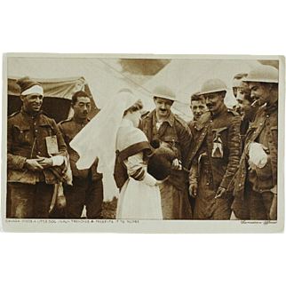 WW1 Canadian Soldiers Gifting A Lost Dog RPPC Postcard