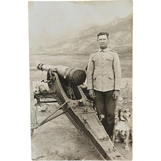 Rare WW1 RPPC Postcard French Soldier With Dog Mascot ~ Trench Artillery Gun