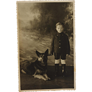 RPPC Postcard ~ Cute Boy And His Shepherd Dog