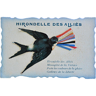 "WW1 French Postcard With Swallow ~ ""Hirondelle Des Allies"""
