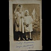 Antique AZO RPPC Postcard ~ WW1 Red Cross Children