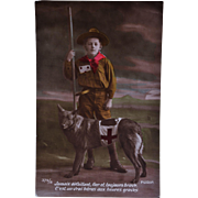 WW1 French Postcard ~ Red Cross Dog With Boy