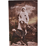 WW1 French Postcard ~ Red Cross Dog And Nurse