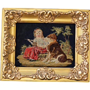 Antique Needlework Stumpwork ~ Girl With Faithful Dog