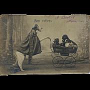 Antique French Postcard ~ Dressed Borzoi Dog