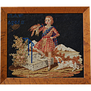 Victorian Needlework ~ Child With Falcon & Dog