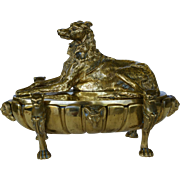 Antique 19C Bronze Figural Inkstand ~ Wolfhound Dog