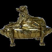 Antique 19C Bronze Figural Inkstand ~ Wolfhound Dog