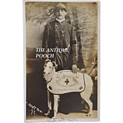 "Antique AZO WW1 Red Cross Dog Postcard ~ ""Direct From The Trenches & Baron De Malussene"""