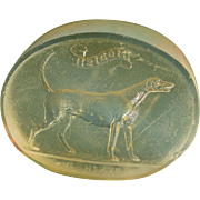 Victorian Glass Wax Seal ~ Standing Dog