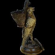 Antique 19C French Match Holder/Striker ~ Bird With Basket