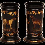 Rare Antique Papier Mache Vases ~ Dog Pair
