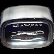 "Victorian Glass Wax Seal ~ Greyhound Dog Titled ""Forward"""