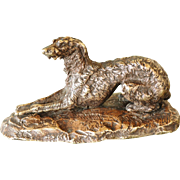 Antique French Bronze Wolfhound Dog