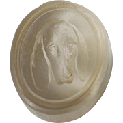 Petite Victorian Glass Wax Seal ~ Bloodhound Dog